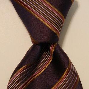HUGO BOSS Silk Necktie ITALY Striped Purple EUC